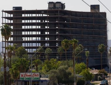 US West QWest building on Earl Drive and 3rd Street in Phoenix blown up