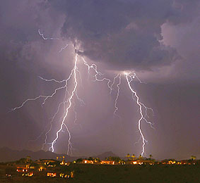Arizona monsoon with lightning in over Tempe